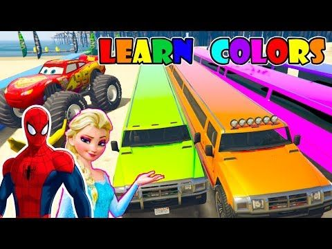 LONG CARS with SPIDERMAN Cartoon for Children and Colour car for kids - Learning Color for Kids and - YouTube