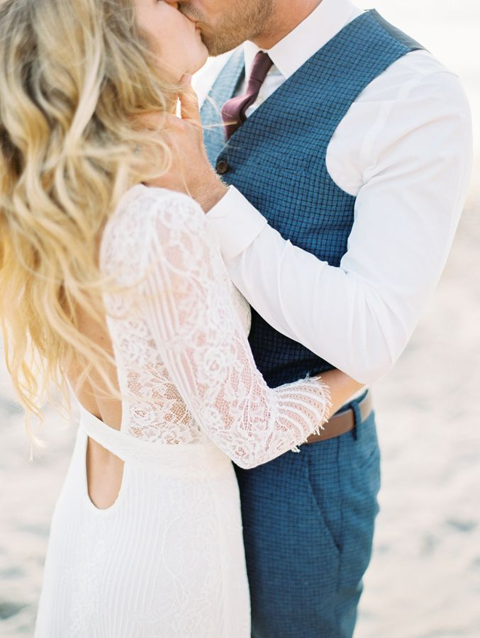 Romantic + bohemian lace long sleeve wedding dress: http://www.stylemepretty.com/california-weddings/big-sur/2015/12/16/romantic-relaxed-elopement-in-big-sur/ | Photography: Winsome + Wright - http://winsomeandwright.com/