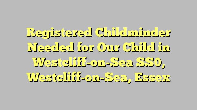 Registered Childminder Needed for Our Child in Westcliff-on-Sea SS0, Westcliff-on-Sea, Essex