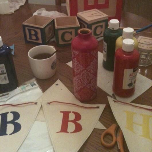 Behind the scenes prep for the #VintageToy #BabyShower