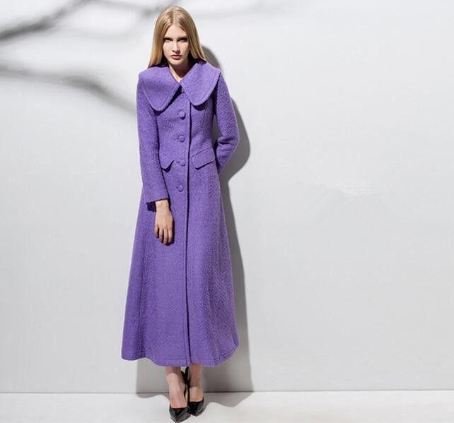 2016 Nuevo Invierno Clásico de Lujo Mujeres Wollen Abrigos Largos de Un Solo pecho Slim Fit Señora Abrigos Manteau Femme Púrpura Rojo D1550(China (Mainland))