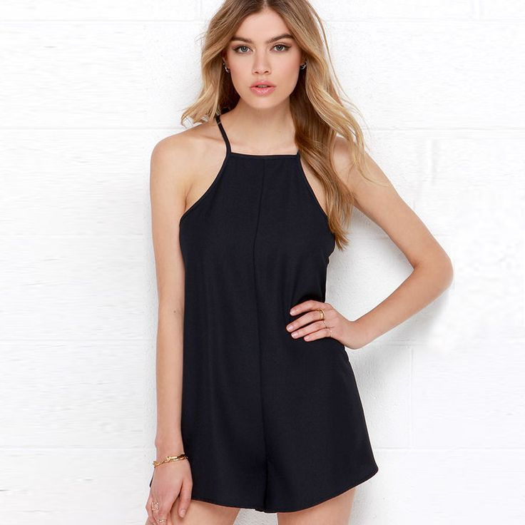 HDY Haoduoyi Solid Black Women Playsuits Sleeveless Contrast Sheer Backless Rompers Women Cold Shoulder Slim Casual Playsuits