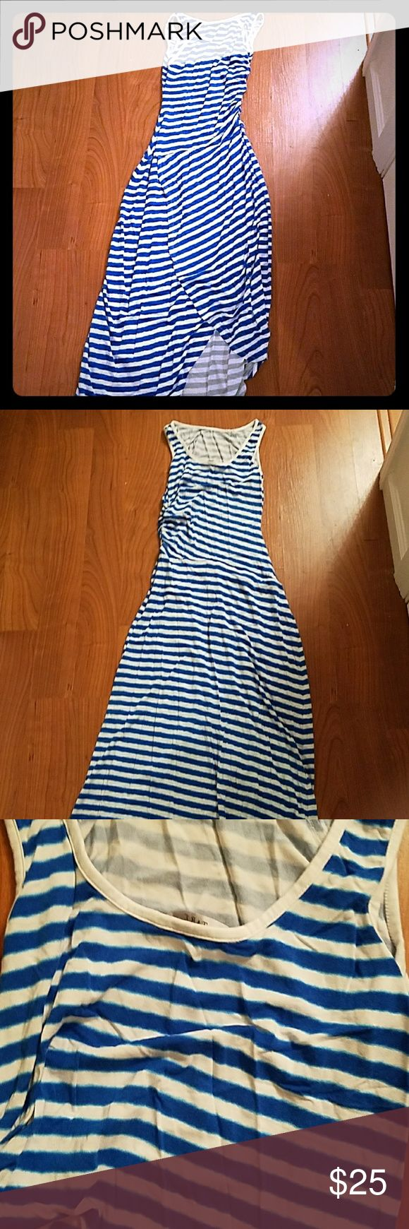 Blue and white maxi dress Pullover style slit in front Tart Dresses Maxi