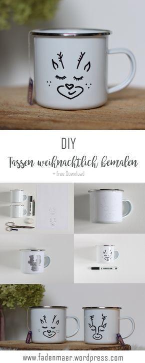 Emaille Tassen bemalen – Schnelles DIY Weihnachtsgeschenk