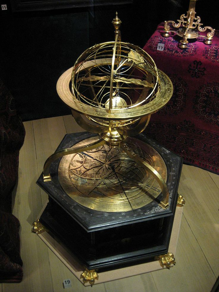 "Armillary sphere with astronomical clock made by Joost Bürgi and Antonius Eisenhoit, Kassel, 1585. Constructed from bronze, steel and ebony. The sphere was looted from Prague by Swedish forces in 1648 and is currently the property of the Nordiska Museet in Stockholm. Note says: ""Johannes Kepler studied the stars with the help of this armillary sphere"". Date	4 March 2009 Author	Chris Bainbridge"