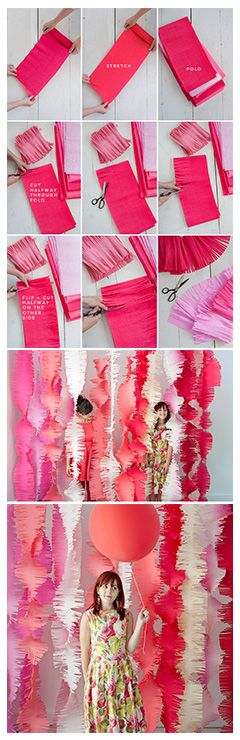 - just change crepe paper color - Ceremony backdrop: How-to with giant crepe paper streamers