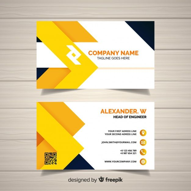 Free Modern Business Card Vector Template With Geometric Design F Business Card Design Creative Business Cards Vector Templates Elegant Business Cards Design