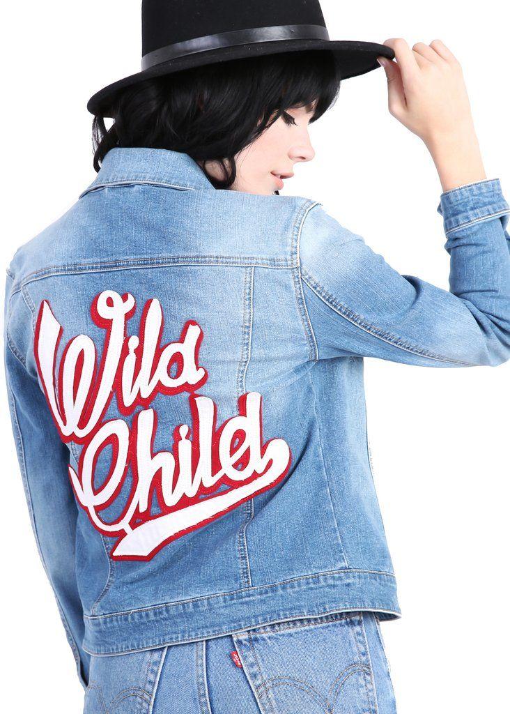 WILD CHILD Embroidered Denim Jacket | Pretty Attitude