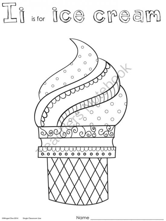 I i is for Ice Cream Coloring Pages from WingedOne on