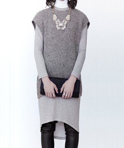Body and Soul Dress  Dress and knitted slipover, straight fit. Pieces can be worn separately Dress is composed of viscose and polyamide Sweater is made from wool, polyacrylic, polyester and other fibers