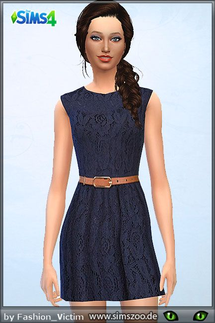 Blackys Sims 4 Zoo: Blue lace dress • Sims 4 Downloads