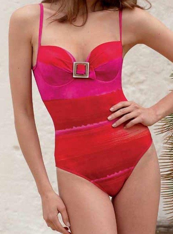 Rasurel Tahiva Padded Balcony Swimsuit Pink Free UK P&P RRP £80 RO432 -  Our price only £21.97