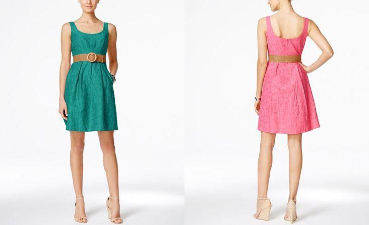 Nine West Belted Burnout Fit & Flare Dress - Dresses - Women - Macy's
