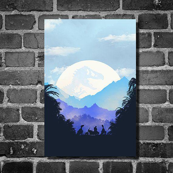 Jurassic World Jurassic Park poster movie poster minimalist poster geekery art print sci fi print blue