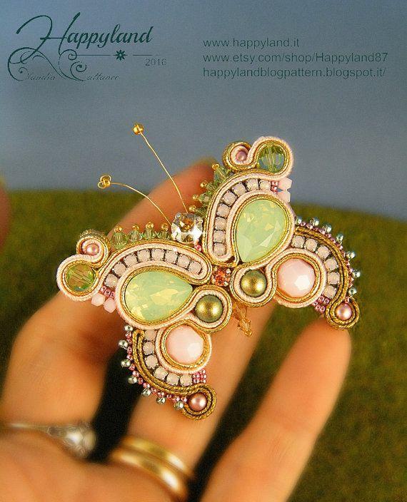 Edit butterfly soutache pin or pendant OOAK от Happyland87