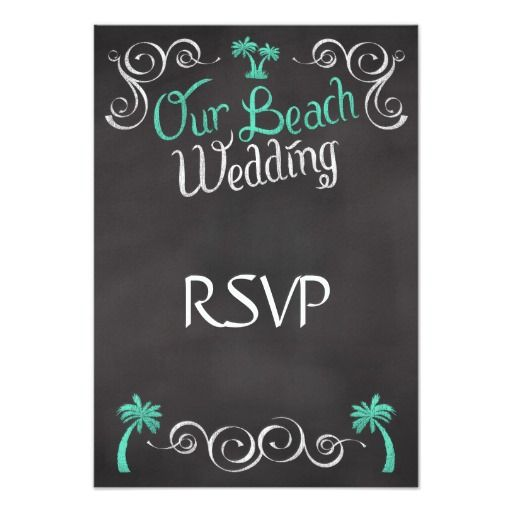 Chalkboard Teal Beach Wedding Matching RSVP Reply Announcement