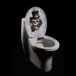 Skull and Roses Designer Melamine Toilet Seat Cover | Overstock.com  Like but kind campy looking for the guest bath