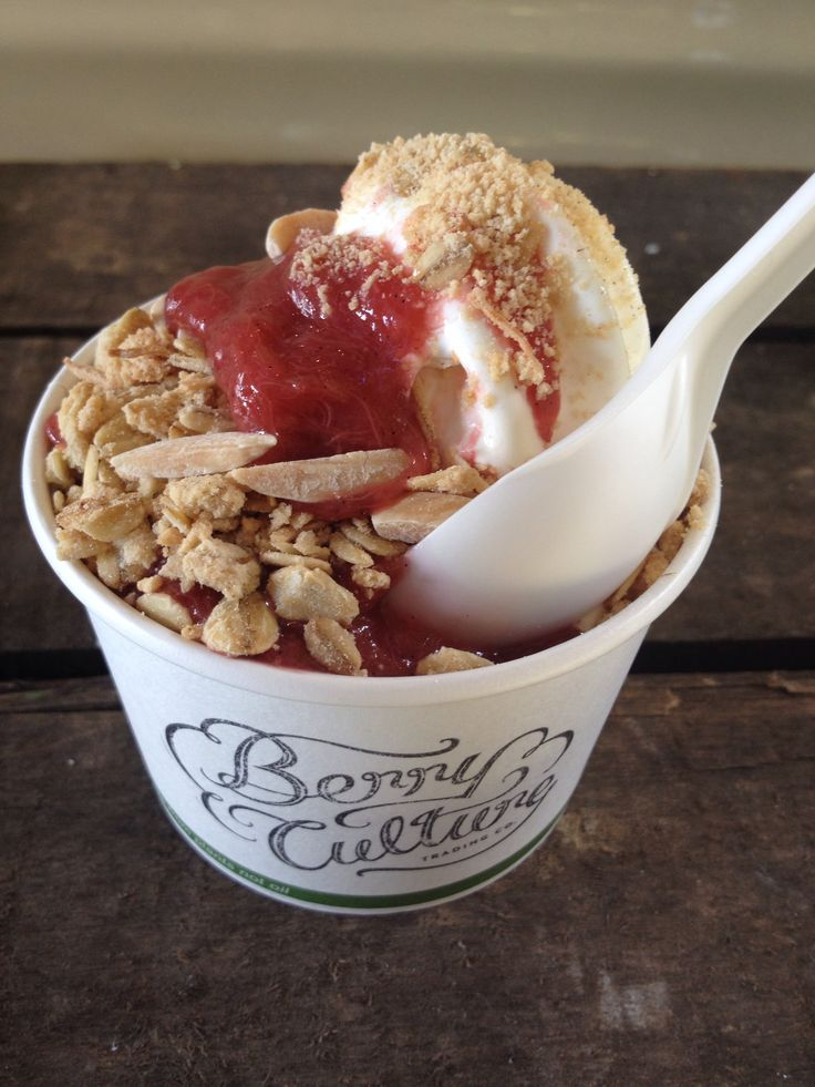 BerryCulture 'Spring Crumble' - natural fresh frozen yoghurt + poached vanilla bean Rhubarb, Oaty crumble and a sprinkle of toasted almonds