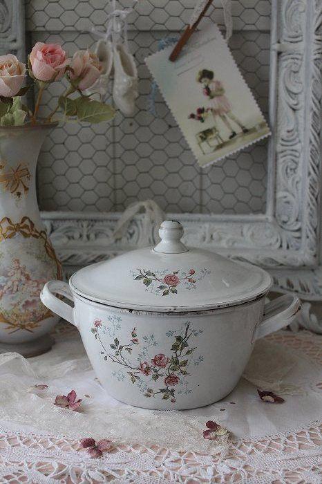 French vintage enameled casserole dish