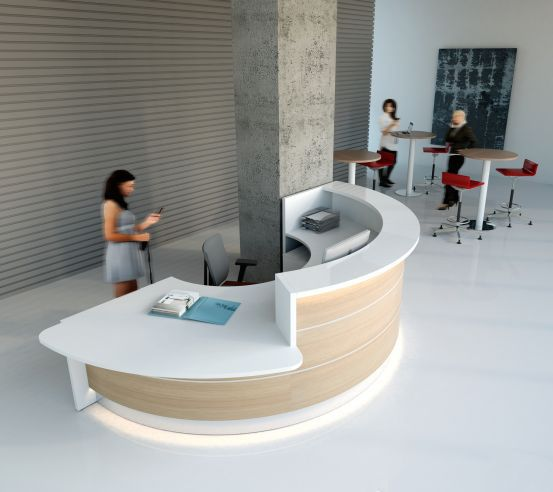 white and light wood colored round recepton desk with led lighting