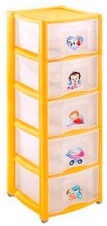 Бытпласт Комод детский 'пластишка' с аппликацией на колесах, 5 секций (желтый)  — 2228р.  Рекомендуемый возраст: 0мес-9лет