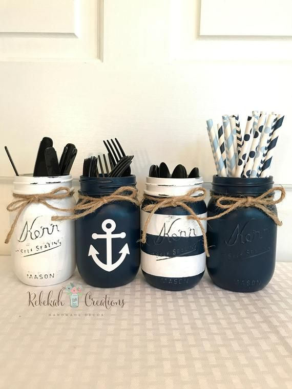 Nautical Mason Jars, Navy and White Nautical Jars, Beach House Decor, Lighthouse Mason Jars, Nautical Wedding Decor, Ocean Wedding Decor, Na   – Beach Style