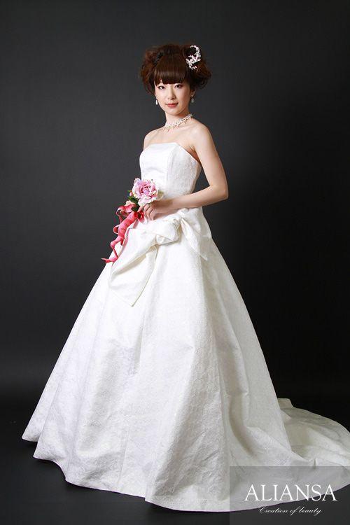 和ドレス 着物ドレス 白のAライン