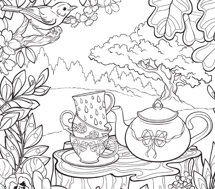 Coloring Template Inspired By Secret Gardens Of The World Birds Teapot Cute PagesColoring