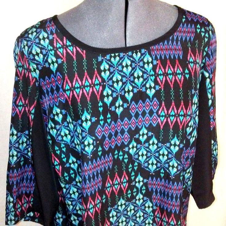 BeBop Summer Tunic Dress Multicolor Graphic Women's Size M Medium 100% Polyester #BeBop #SheathDressShiftDress #PartyCocktail