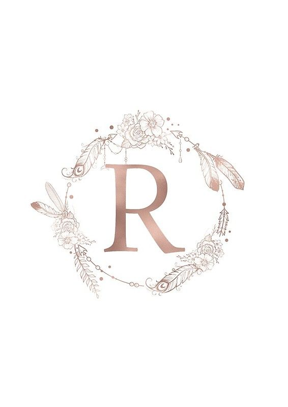 Letter R Rose Gold Pink Initial Monogram Spiral Notebook