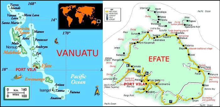 Vanuatu & Efate Island - Port Vila Vanuatu Map