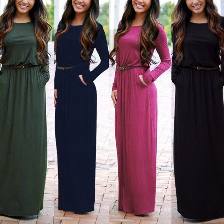 2017 New Brand Women Clothing Spring Autumn Floor Length Dress O Neck Long Sleeve Pocket Pleated Waist Maxi Long Dress with Belt