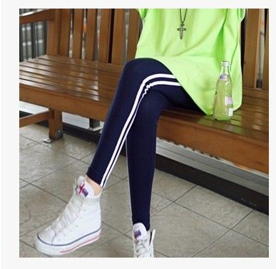 2015 New Arrival Fall And Winter Women s Casual Leggings Striped Ankle length Cropped Pants Sports
