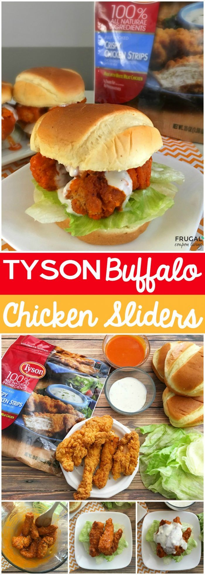 Tyson® Buffalo Chicken Sliders Recipe - this makes a perfect week day recipe for the family. Also the perfect game day recipe on Frugal Coupon Living. #ad #tysonsfoods #dinner
