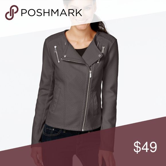Calvin Klein Faux-Leather Moto Jacket Charcoal Channel your inner biker babe in this chic moto jacket from Calvin Klein, designed with an asymmetrical front zipper and a sleek notched collar.  Asymmetrical front zipper closure Lined Hits at hip Three zipper pockets at front Silver Hardware Polyester/viscose Dry clean Calvin Klein Jackets & Coats