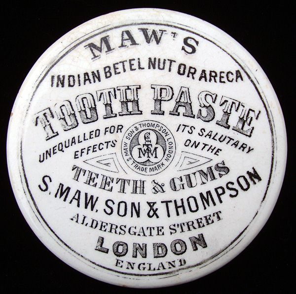 Victorian Areca Nut Indian Tooth Paste Pot 1885 from aesthetictransferware on Ruby Lane