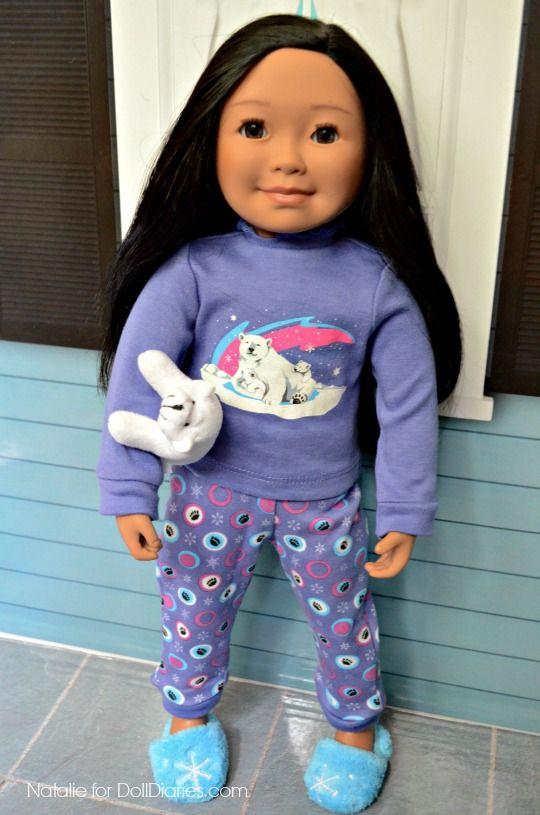 Saila's Polar Bear PJs and Katajjaq Giggles Dress from Maplelea