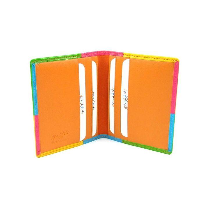 Kožené pouzdro na kreditní karty a vizitky oranžové - peněženky AHAL