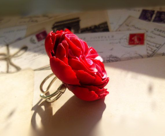 Flower ring Big ring Red ring Pink ring Large by jewelryNatalie