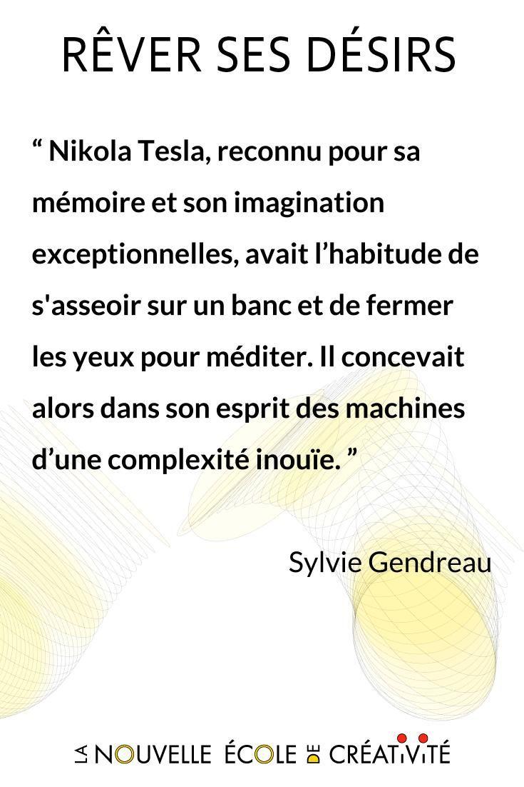 Nikola Tesla, reconnu pour sa mémoire et son imagination exceptionnelles, avait l'habitude de s'asseoir sur un banc et de fermer les yeux pour méditer. Il concevait alors dans son esprit des machines d'une complexité inouïe#imagination #inspiration #motivation #créativité #innovation #intelligencecollectiveDécouvrez '#Rêver ses #désirs' de #SylvieGendreau