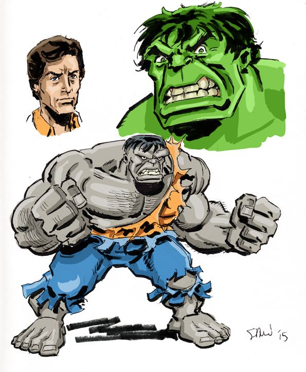 How I would draw an animated style Hulk... with a Bill Bixby style Bruce/David Banner.