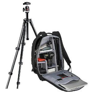 "Manfrotto VELOCE V Backpack and MKC3-P01 Compact Series Tripod Bundle Pack by Manfrotto. $91.89. The perfect kit for the on-the-go photographer. Manfrotto's Deluxe Digital Camera Kit includes Manfrotto's high quality photo tripod and stylish and functional photo backpack.  The Manfrotto VELOCE V Backpack  is the essential shooting backpack, which comfortably fits all your camera gear and tripod either inside or outside the bag as well as a 15.4"" laptop. Grab your DSLR (with or..."
