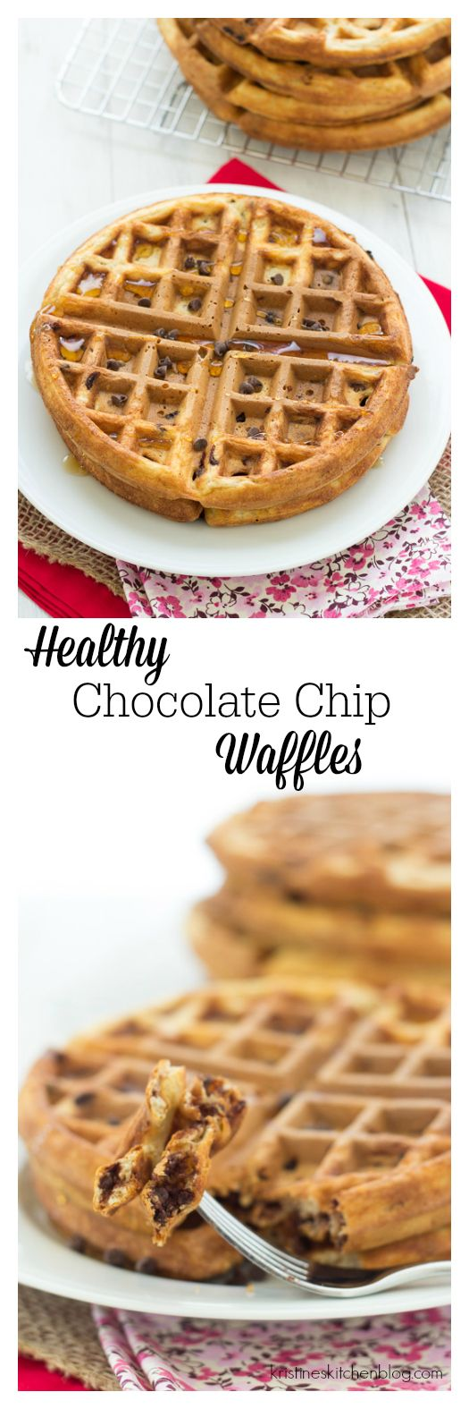 Freezer-friendly healthy chocolate chip waffles will lure you out of bed in the morning!