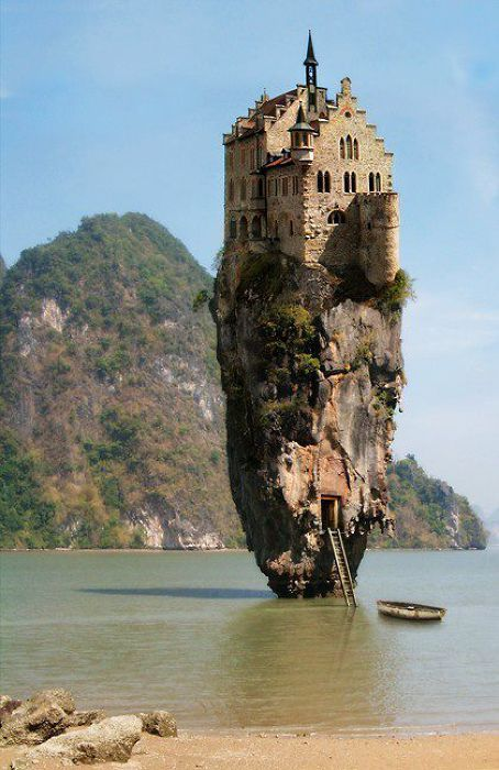 a German castle photoshopped on to James Bond Island in Phuket, Thailand