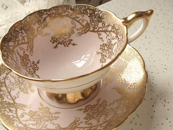 Vintage bone china tea cup and saucer set Royal by ShoponSherman