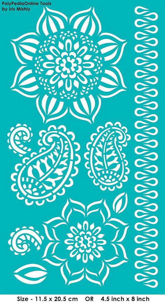 Stencils are a great way to embellish your designs and create beautiful patterns on your polymer clay, fabric, wood, glass, cardmaking, home decorating, or any of your mixed media projects. I like to call them quick silk screens patterns.  • Soft, flexible stencil • Self-adhesive for easy application • Repositionable • Adhesive back stays sticky for multiple uses • Designed for application on curved surfaces  These stencils are reusable, adhesive stencils BUT, if you want to use them on…