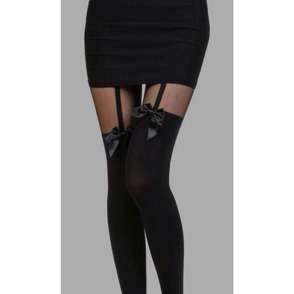 Black Bow Suspender Tights Stockings (Alternative, Pastel Goth,... ($11) ❤ liked on Polyvore