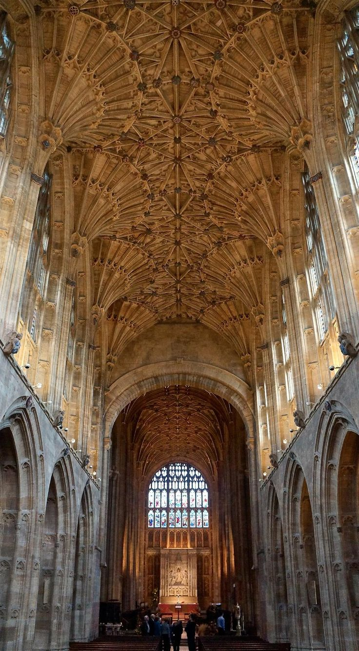 Sherborne Abbey. Perpendicular ~ The style we know as Perpendicular Gothic is the final phase of Gothic architecture in England, after the Early English and Decorated periods, and it lasted by far the longest of the three periods, stretching from the late 14th until the early 16th century. The picture shows fan vaulting in the choir of Sherborne Abbey.