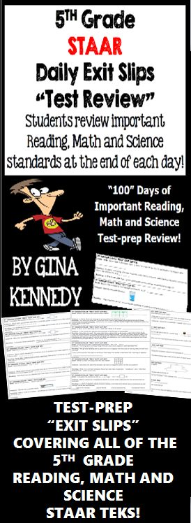 """With this resource you will find 100 (300 total questions) daily 5th grade STAAR math, science and reading exit slips that include three review questions each directly tied to the STAAR reading, math and science TEKS. Excellent for an end of the day """"wrap up"""" review as well as for an authentic on-going assessment!  This set of the """"5th Grade STAAR Daily Exit Slips"""" will help you to prepare your students effectively for the STAAR tests in 5th grade.$"""