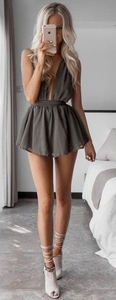 #summer #kirstyfleming #outfits | Taupe Playsuit